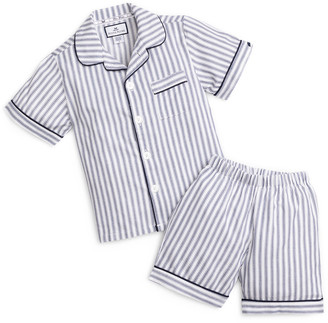 Petite Plume Boy's French Ticking Striped Pajama Set w/ Contrast Piping, Size 6M-14