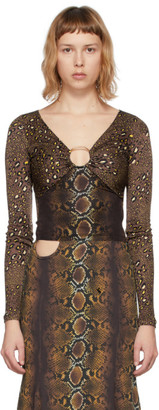 Versace Brown Mixed Print Blouse