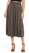 Moon River Women's Pleated Faux Suede Midi Skirt