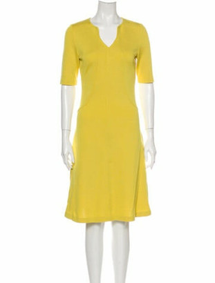 St. John V-Neck Knee-Length Dress w/ Tags Yellow
