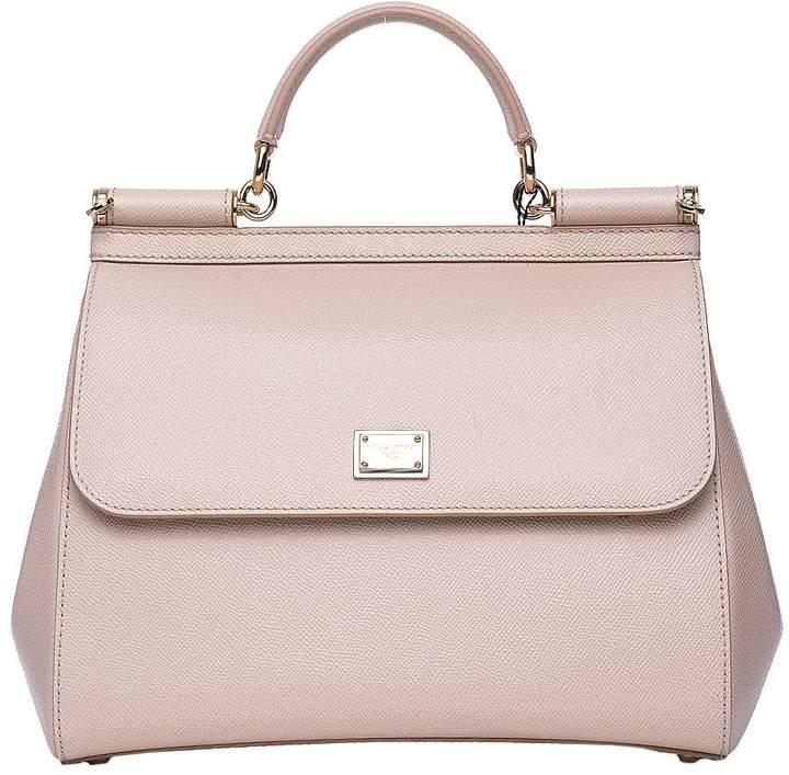 Dolce & Gabbana Beige Dauphine Leather Regular Sicily Bag