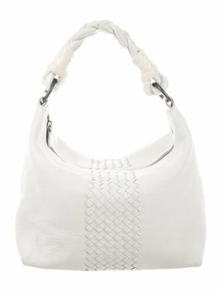 Bottega Veneta Intrecciato-Trimmed Leather Hobo White