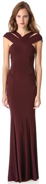 Donna Karan Cross Neck Evening Gown