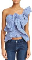 Alpha and Omega One-Shoulder Gingham Ruffle Top