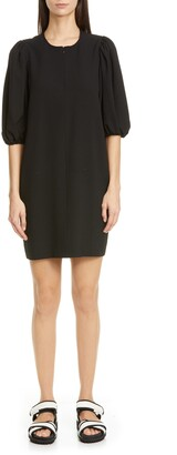 Ganni Puff Sleeve Heavy Crepe Shift Dress
