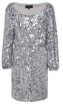 Dorothy Perkins Womens Silver Sequin Puff Sleeve Shift Dress, Silver