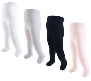 Touched by Nature Baby Vision Baby and Toddler Girl Baby Organic Cotton Tights, 4-Pack
