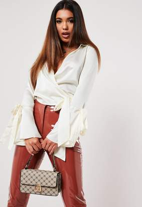 Missguided White Satin Tie Side Blouse