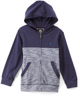 English Laundry Navy & Gray Color Block Zip-Up Hoodie - Boys