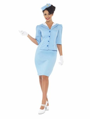 Smiffys Women's Air Hostess Costume with Jacket and Mock Collar Hat Skirt and Gloves