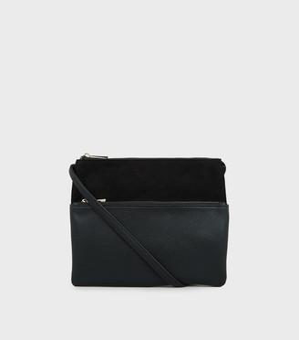 New Look Leather-Look Double Pocket Shoulder Bag