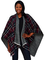 As Is Tashon Herringbone Plaid Reversible Runway Ruana