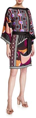 Trina Turk Mixed-Print Kimono Style Dress