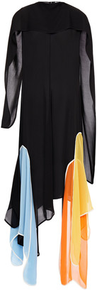 J.W.Anderson Draped Color-block Silk-crepe Midi Dress