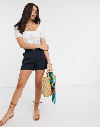 Asos DESIGN casual short with paperbag waist in navy