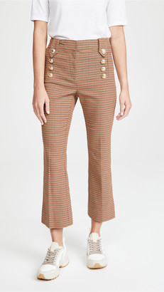 Derek Lam 10 Crosby Corinna Cropped Flare Pants with Sailor Buttons