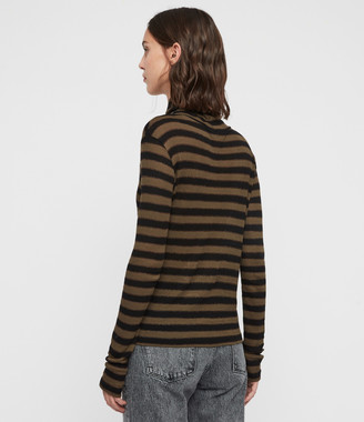 AllSaints Esme Shimmer Stripe Roll Neck Top