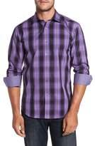 Bugatchi Slim Fit Gradient Plaid Sport Shirt