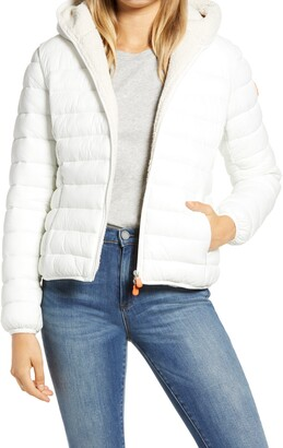 Save The Duck Giga Water Repellent Hooded Puffer Jacket with Faux Shearling Lining