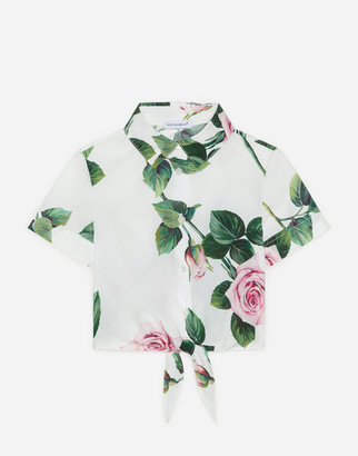 Dolce & Gabbana Cropped Poplin Shirt With Tropical Rose Print