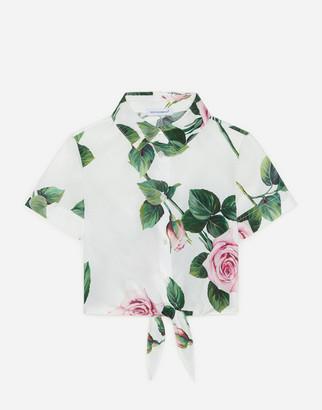 Dolce & Gabbana Cropped Poplin Shirt With Tropical Rose Print