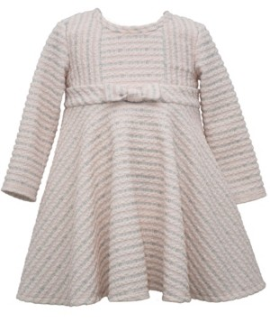 Bonnie Baby Baby Girls Long Sleeve Textured Knit Striped Dress