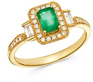 Bloomingdale's Emerald & Diamond Milgrain Ring in 14K Yellow Gold - 100% Exclusive
