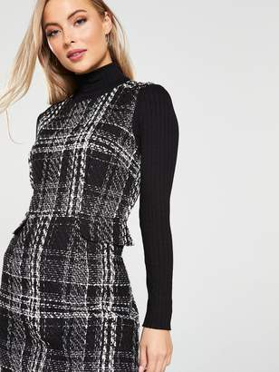 Warehouse Sparkle Check Tweed Dress - Mono