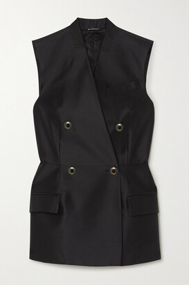 Givenchy - Double-breasted Wool And Silk-blend Satin Vest - Black