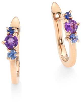 Phillips House Dusk Enchanted 14K Rose Gold, Amethyst & Sapphire Petite Huggie Earrings