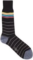 Paul Smith Dark Blue Striped Cotton Blend Socks