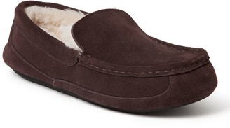 Dearfoams Men's Genuine Suede Driver Moccasin Slippers