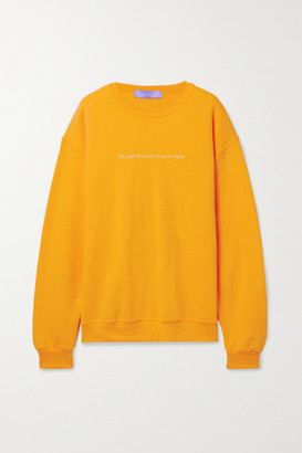 PARADISED Sun In Eyes Embroidered Cotton-blend Jersey Sweatshirt - Saffron