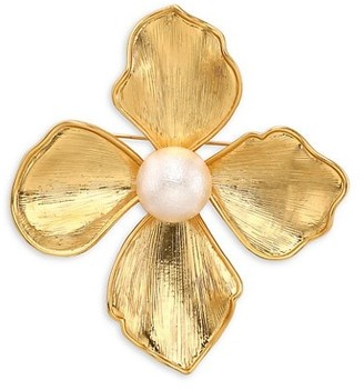 Kenneth Jay Lane Brushed Goldtone & Faux Pearl Large Flower Pin