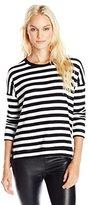 Velvet by Graham & Spencer Women's Cozy Jersey Stripe Drop Sleeve Top