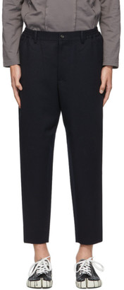 Comme des Garçons Homme Deux Navy Wool Yarn-Dyed Trousers
