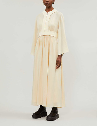The Row Smith gathered silk-crepe midi dress