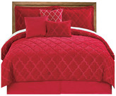 Serenta Ogee Faux Fur Embroidered 7 Piece Bed Spread Set, Tango Red, King