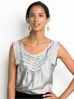 Petite silk charmeuse ribbon blouse