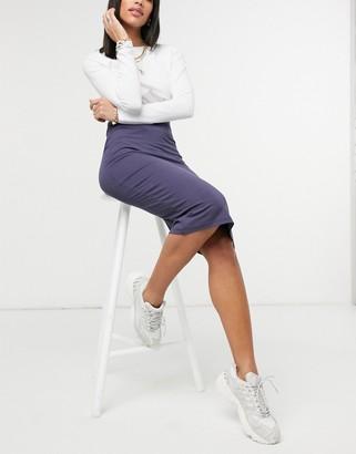ASOS DESIGN jersey midi pencil skirt in dark navy