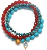 Satya Jewelry Carnelian & Turquoise Stretch Bracelet Set