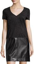 Laundry by Shelli Segal Faux-Suede & Faux-Leather Shift Dress, Black