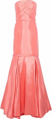 Mikael Aghal Strapless Pleated Duchesse-satin Gown