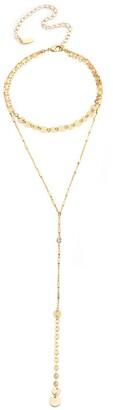 Ettika Gold Disc Lariat Necklace