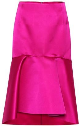 Balenciaga High-rise silk satin godet skirt