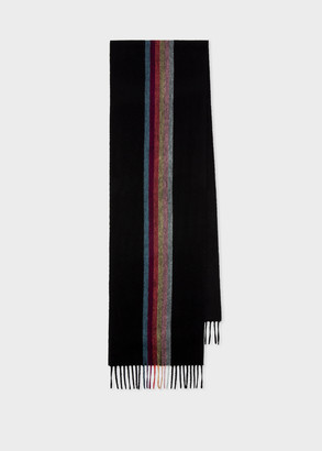 Paul Smith Men's Black 'Artist Stripe' Central Band Cashmere Scarf