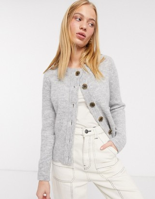 Selected knitted cardigan with contrast buttons in grey