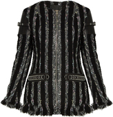 Alexander Wang Leather-trimmed striped tweed jacket