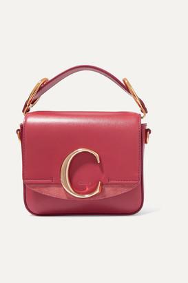 Chloé C Mini Suede-trimmed Leather Shoulder Bag - Pink