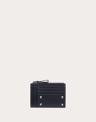 Valentino Garavani Uomo Rockstud Cardholder Man Grey Calfskin 100% OneSize